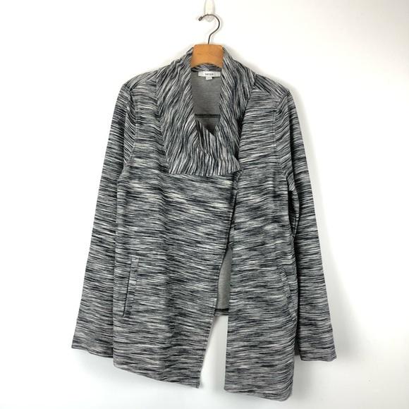 Kensie Sweaters - KENSIE Mally Ponte gray asymmetrical jacket